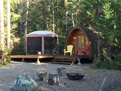 POD's or Kanass cabins with capacity for 4 persons completly equiped, air conditionning and gazebo