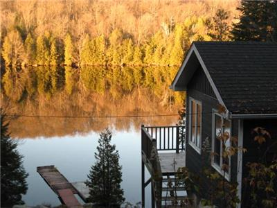 Aux Deux Canards waterfront cottage for rent in St. Adolphe d'Howard in the Laurentians.