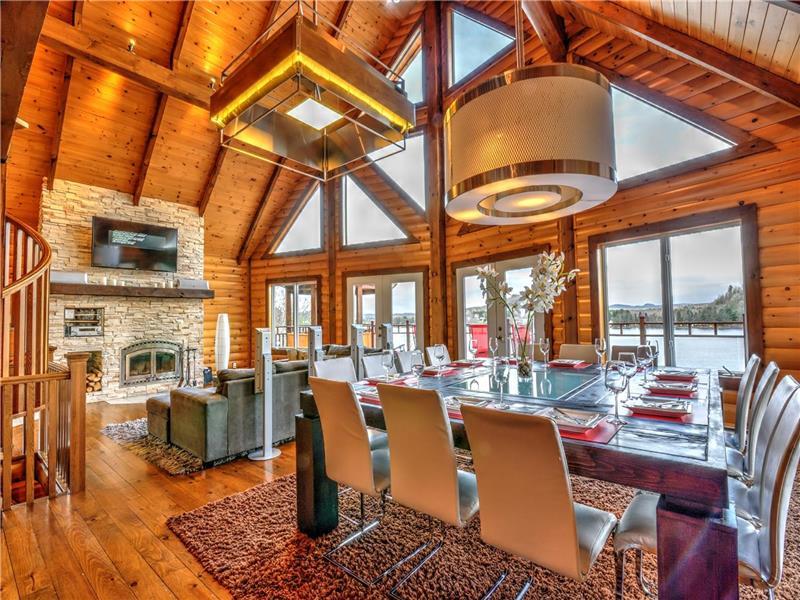 Grand Salon Avec Foyer : Scandinave bord de l eau chalet à louer lac simon di